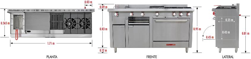 estufa multiple patit, estufa inox completa, estufa con horno y freidora